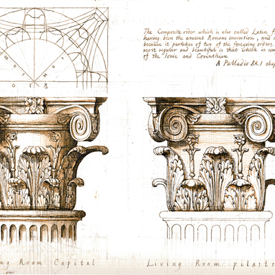 Composite Capitals. Drawn by Francis Terry. Ink on paper, 2004.