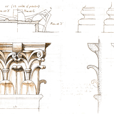 Drawing of Corinthian capitals. Drawn by Francis Terry. Ink on paper, 2004.