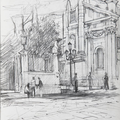 Campo S. Stefano, Venice. Drawn by Francis Terry. Pencil on paper, 2008.