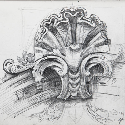 Decorative Shell, Santa Maria del Rosario, Venice. Drawn by Francis Terry. Pencil on paper, 2008.