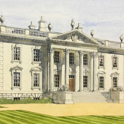 House in Norfolk front elevation. Watercolour by Francis Terry, 2016.