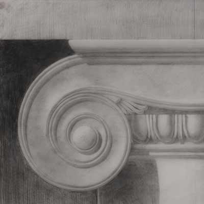 Ionic Capital, drawn by Francis Terry. Pencil on tracing paper, 2018.
