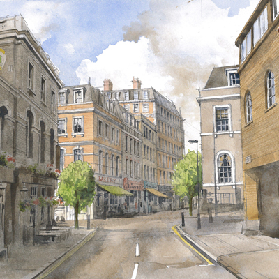 Mount Pleasant street scene. Watercolour painted by Francis Terry, 2015.