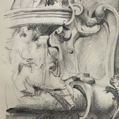 Rococo Cartouche, Prague. Drawn by Francis Terry, 1992.