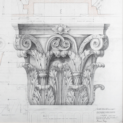 Full size working drawing of Corinthian Capital for Hanover Lodge, by Francis Terry. Pencil on tracing paper. Exhibited in the Three Classicists exhibition at the RIBA 2010.