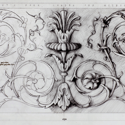 Full size working drawing of rinceau panel for Hanover Lodge. Drawn by Francis Terry, pencil on tracing paper. Exhibited in the Three Classicists exhibition at the RIBA 2010.