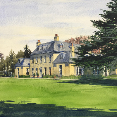 House in Wiltshire, south perspective. Watercolour by Francis Terry, 2016.