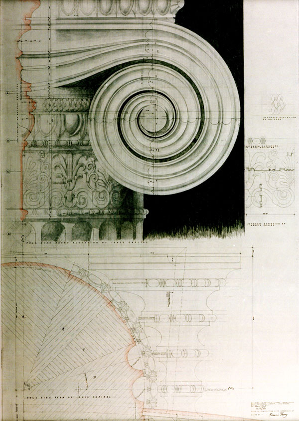 Full size drawing of capital by Francis Terry
