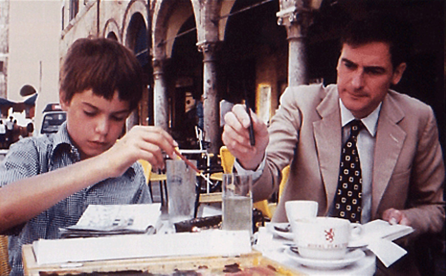 Quinlan and Francis Terry sketching in Ascoli Piceno, Italy, 1983
