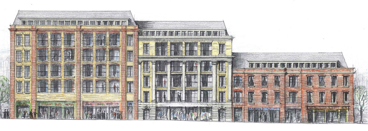 Proposed elevation on Mount Pleasant. Creating beauty with space for balconies.