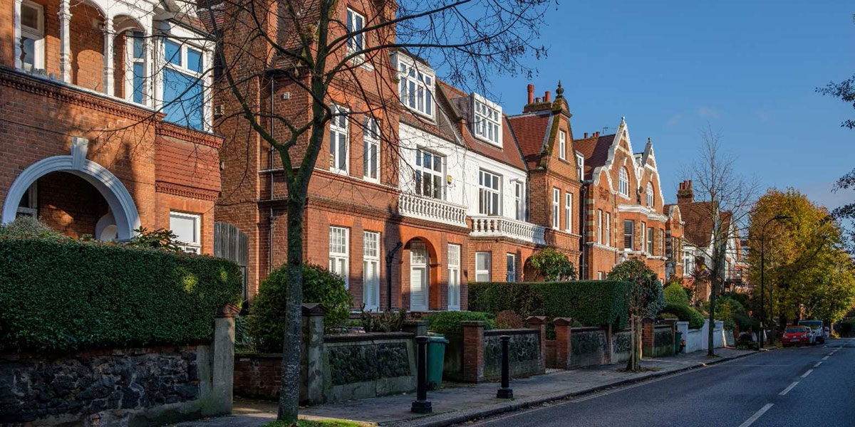 Red Brick with ornament and white detailing predominates in West Hampstead.