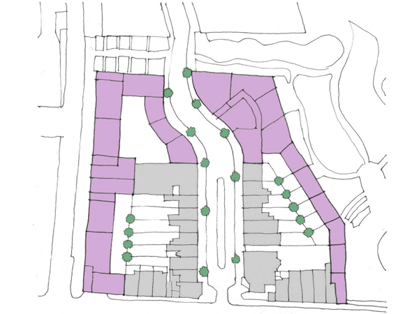 Proposal for Empress Place. New buildings shown in mauve and existing in grey.