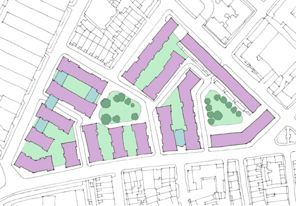 Plan of the Sutton Estate, Chelsea. Existing estate buildings shown in mauve and additions shown in blue.